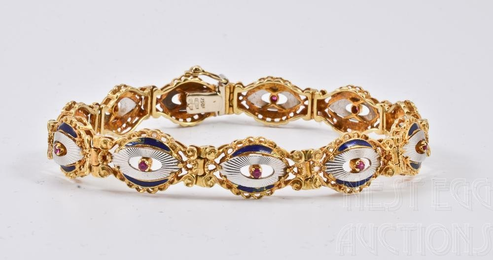 Ladies 18K gold, Ruby and Enamel Bracelet