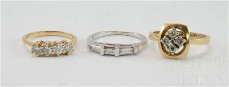 Group of three ladies 14K multi diamond rings