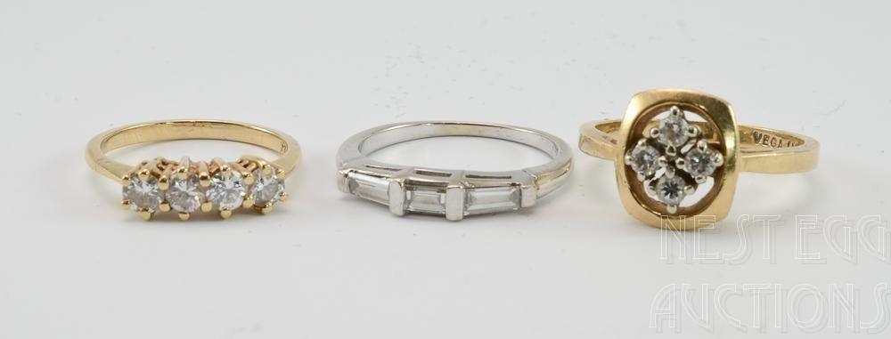 Group of three ladies 14K multi diamond rings