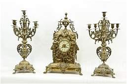 AD Mougin French Brass Figural Lions Head Clock Set