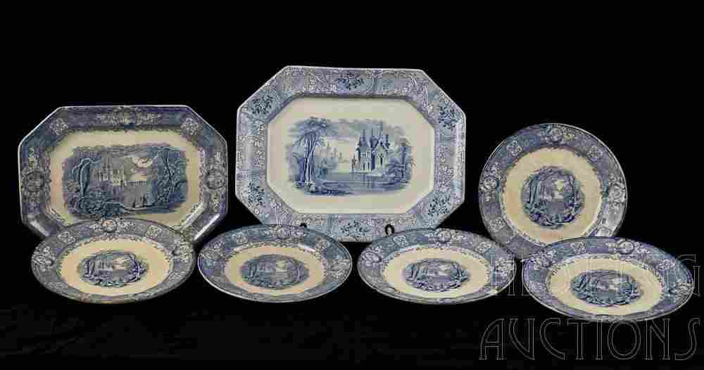 7 pcs English Blue and White Staffordshire Stoneware