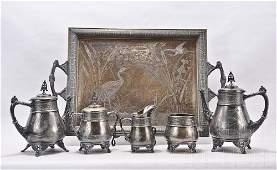 6 pc. Victorian Silverplate Tea Service