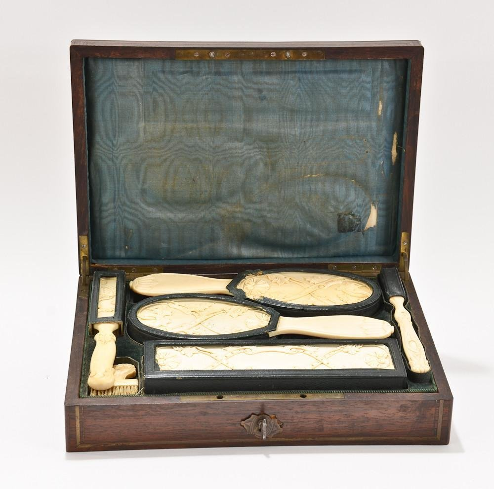 Carved ivory vanity travel brush set in fitted case