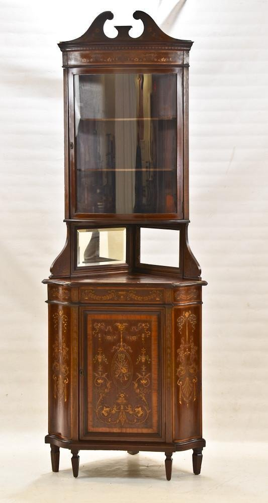 French style inlaid Renaissance corner cabinet