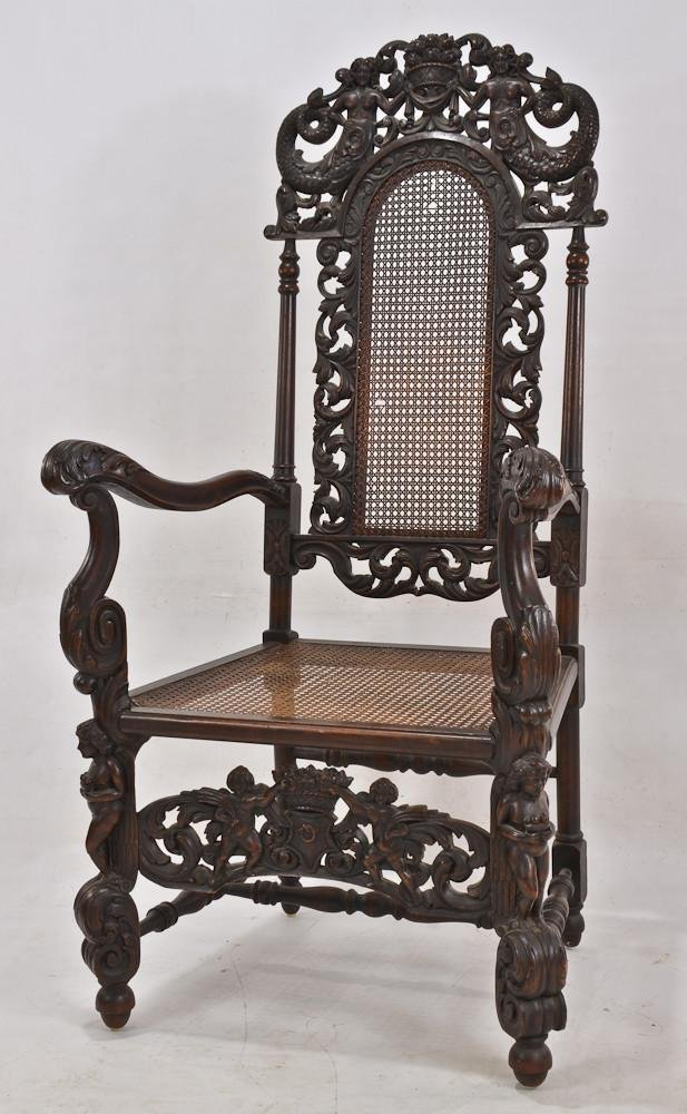 Hathaway Renaissance carved walnut arm chair