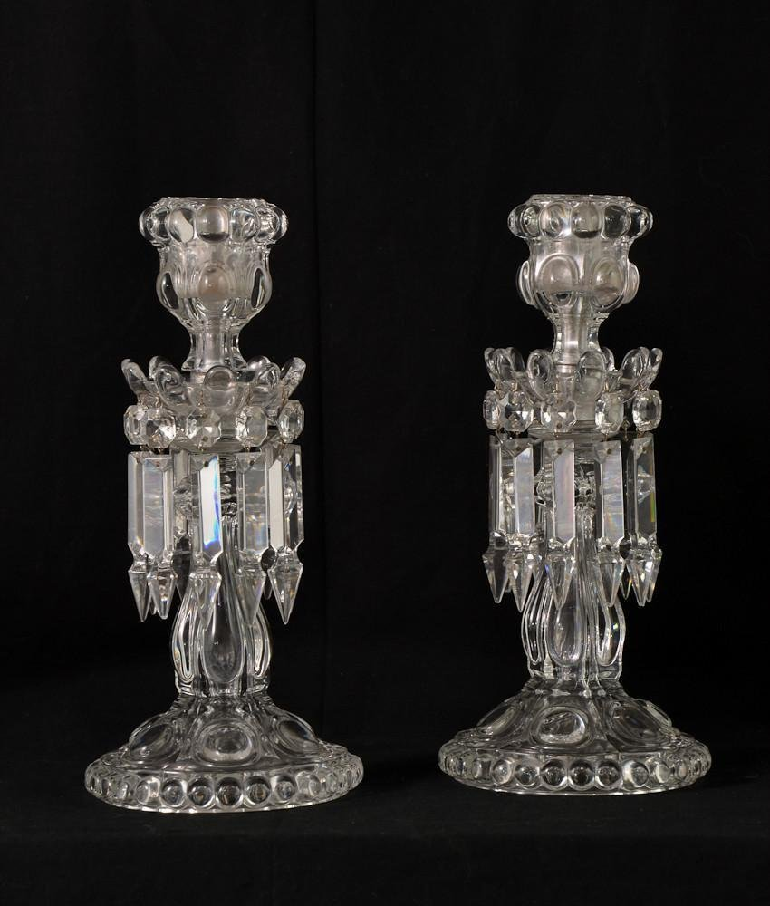 Pair of Baccarat crystal lustre candlesticks w/ prisms