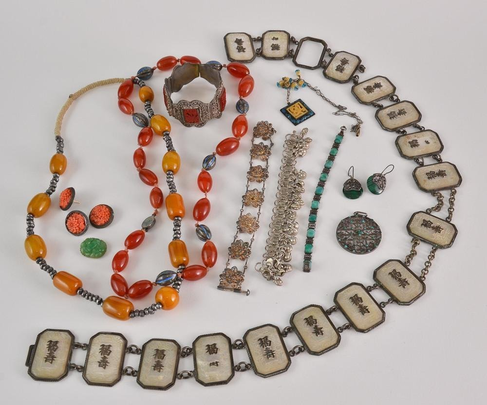 Collection of chinese silver & hardstone jewelry