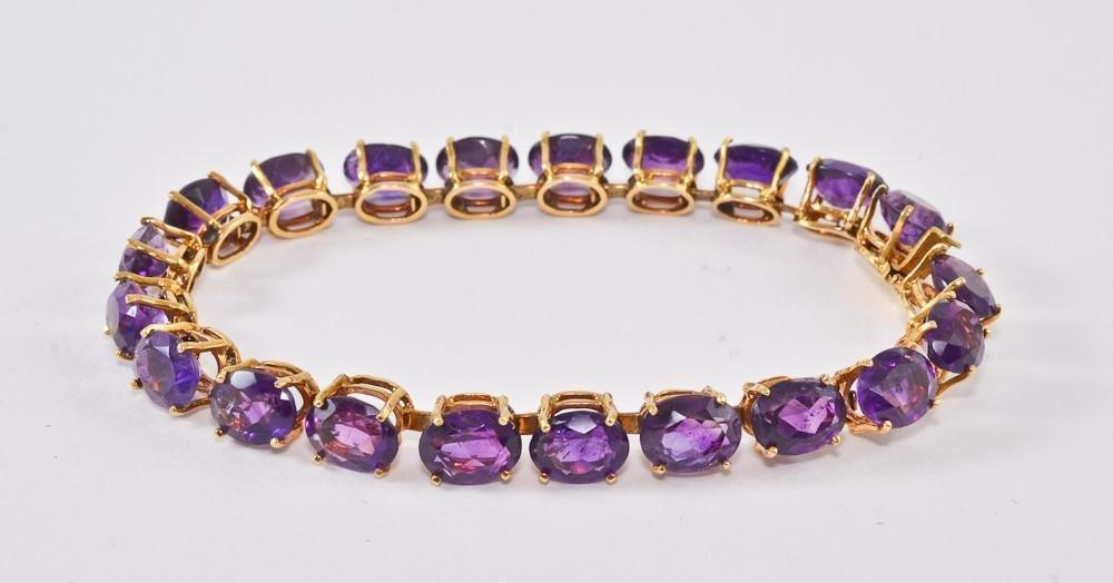 Ladies 18K Amethyst Tennis Bracelet