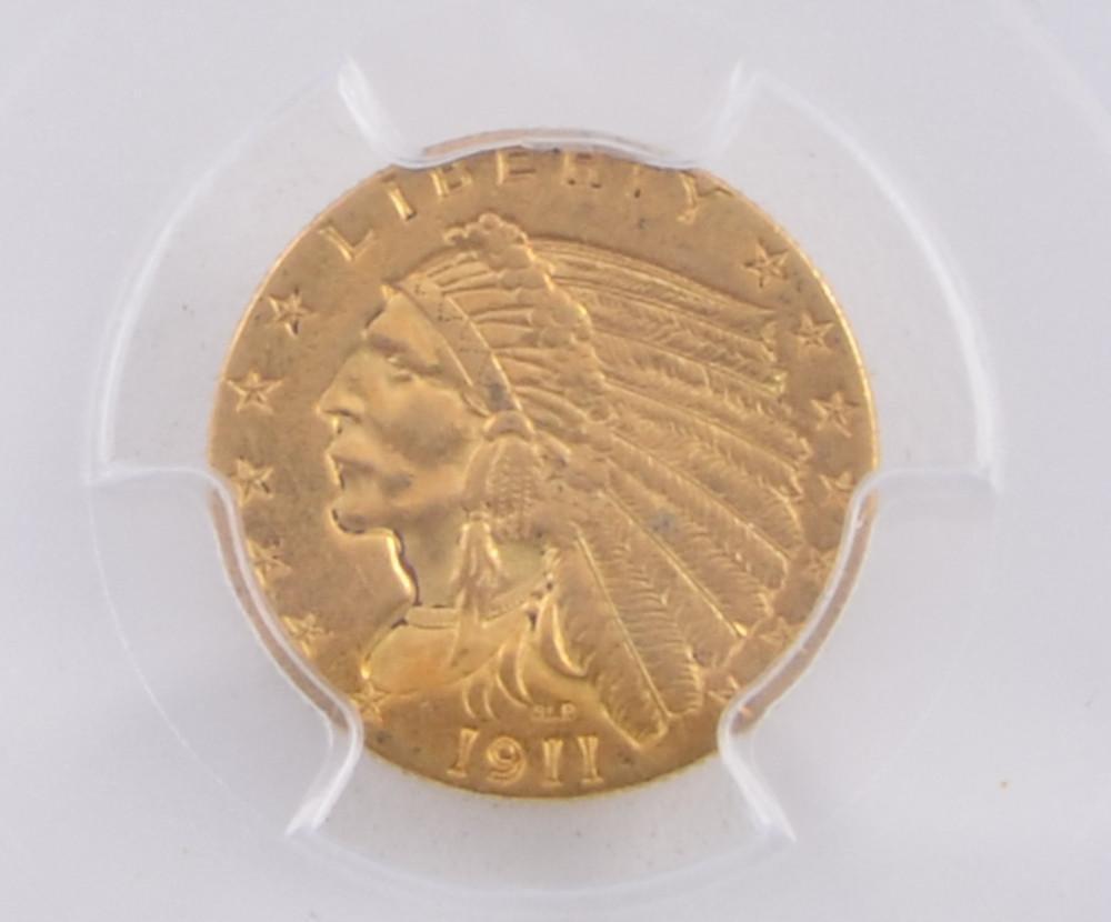 1911 $2 1/2 Gold Indian gold quarter eagle coin