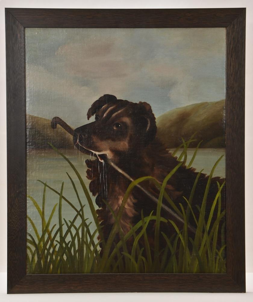 19th C. Folk Art Oil Painting: Retriever