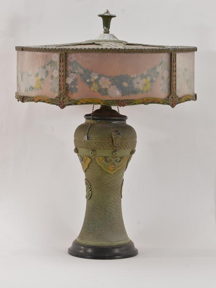 Reverse Painted Cast Metal Table Lamp