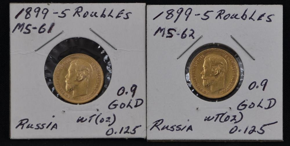 Two 1899 5 Five Roubles Russian Gold Coins