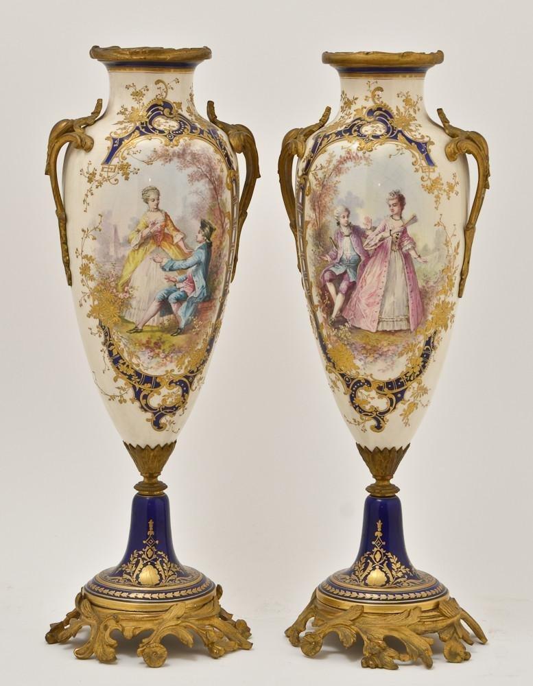 Sevres Style Gilt Bronze mounted porcelain vases