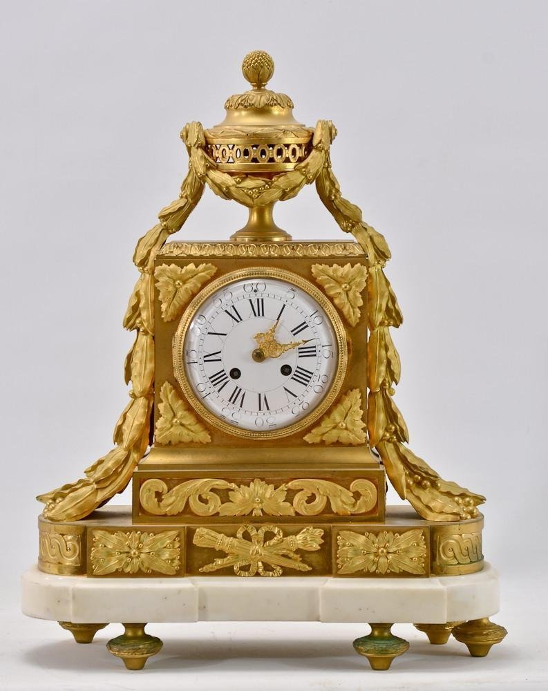 French Empire Gilt Bronze Marble Mantle Clock