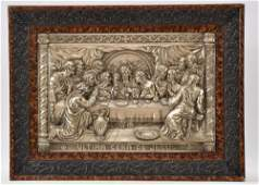 Spanish silver plate on copper religious plaque