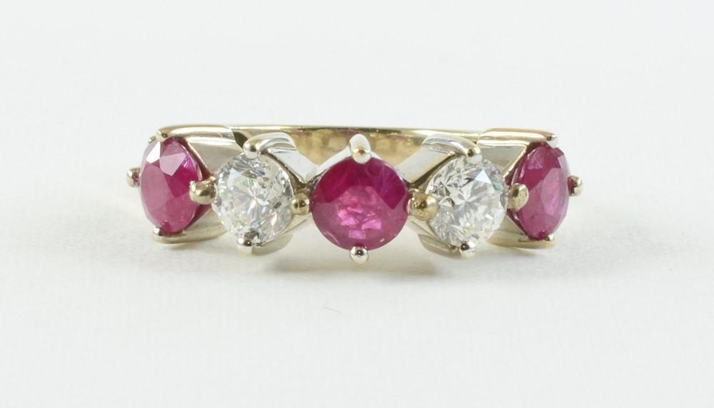 Ladies 14K Diamond and Ruby Ring