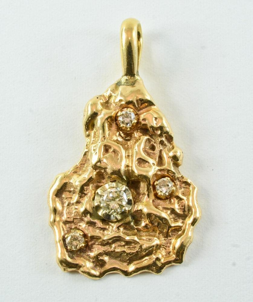 14K Gold and Diamond Nugget Form Pendant