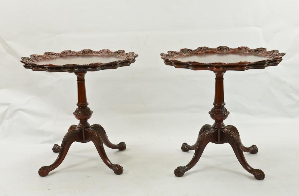 Pair of Carved Mahogany Tables