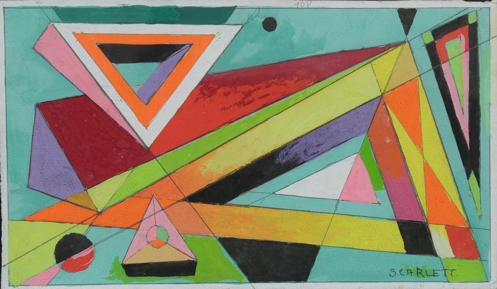 Rolph Scarlett Geometric Abstract Gouache