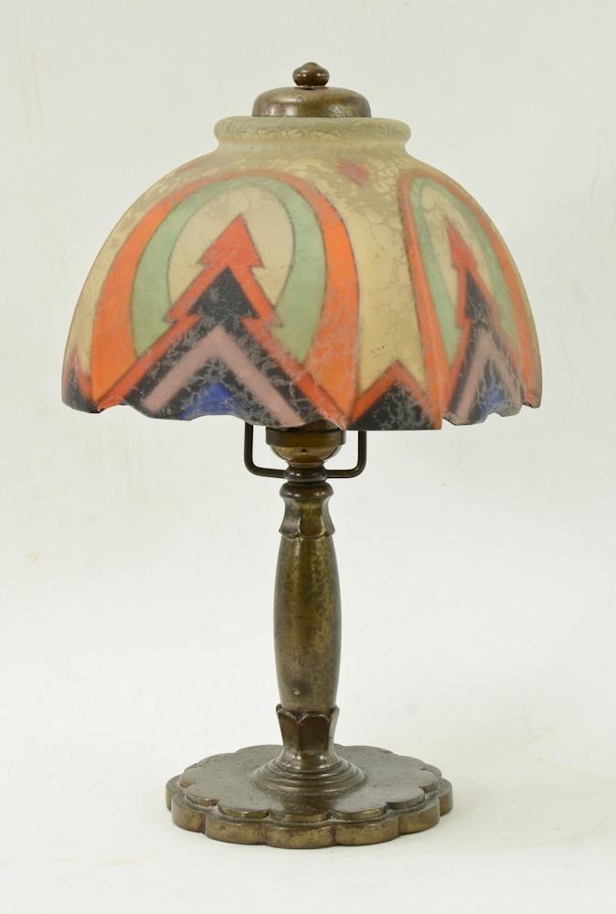 Handel Reverse Painted Art Deco Budoir Lamp