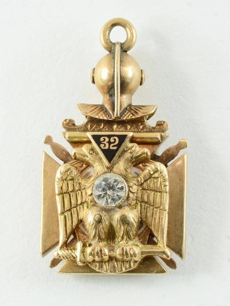 14K Masonic Knights Templar Jewel Fob