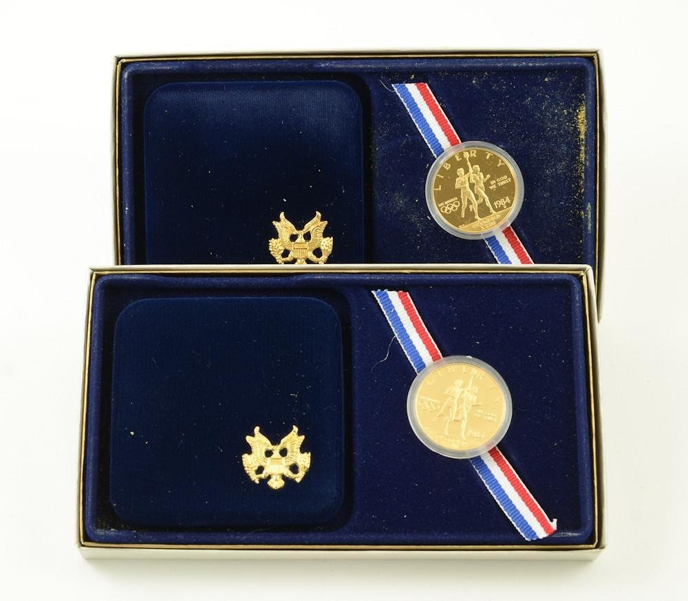 Two 1984-P Olympic $10 Gold Proof sets