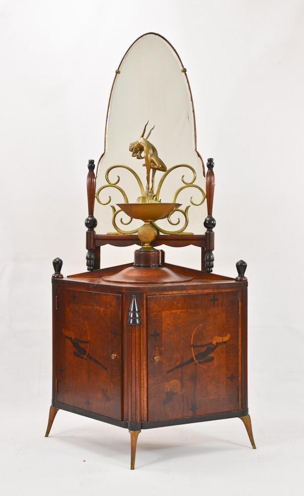 Art Deco Bronze Mirror, Lamp & Inlaid Cabinet