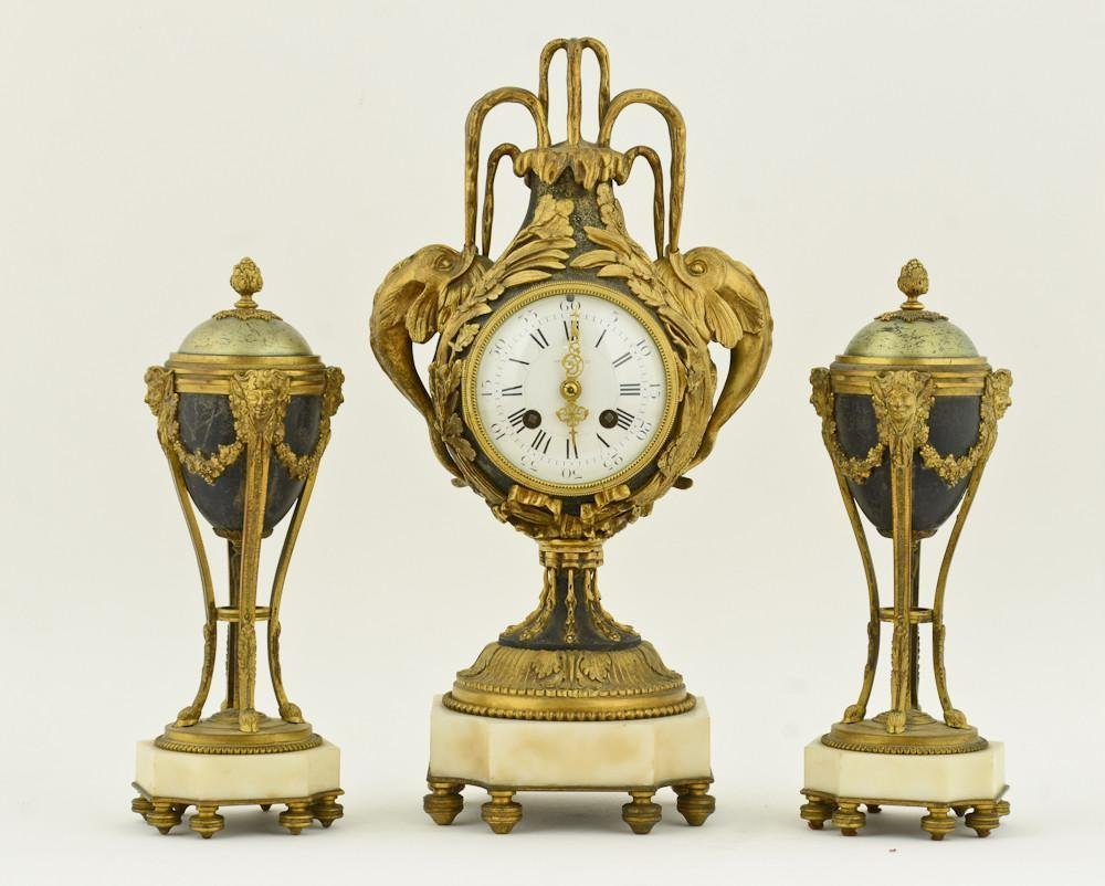 French Gilt Bronze & Marble Clock Set
