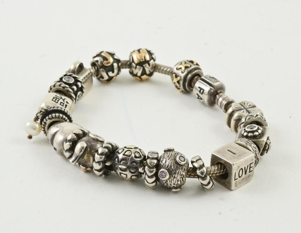 Pandora Sterling Silver and 14K Gold Charm Bracelet