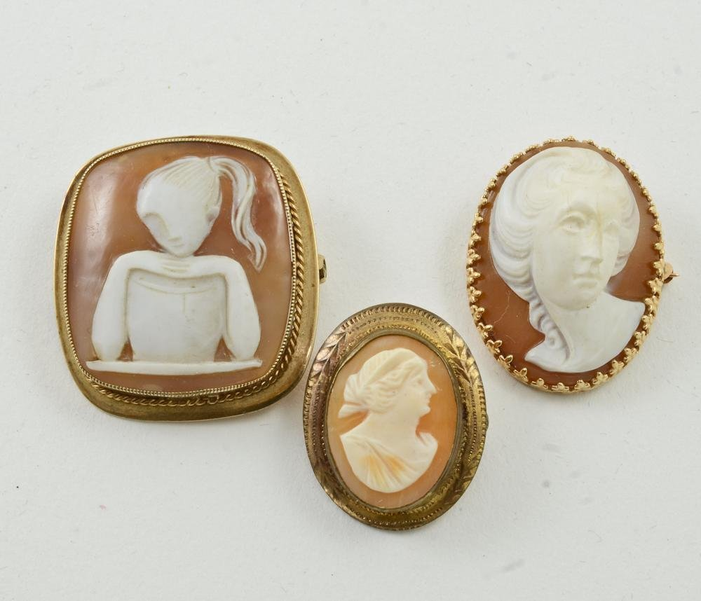 Three Antique carved shell Cameo Pins