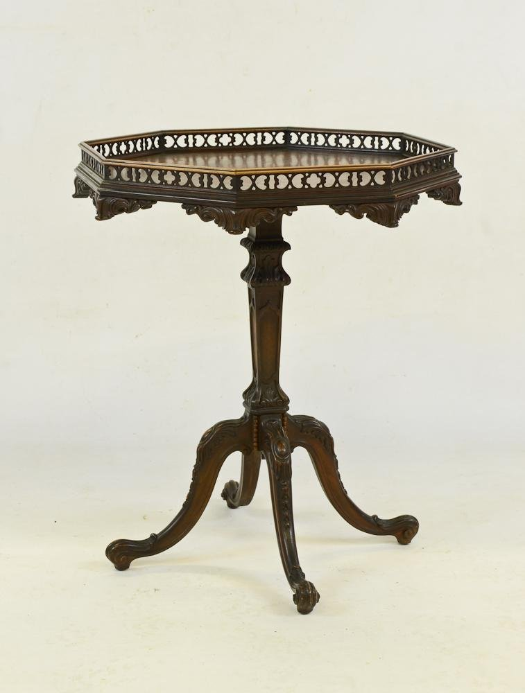 Carved Chippendale Galleried Tea Table