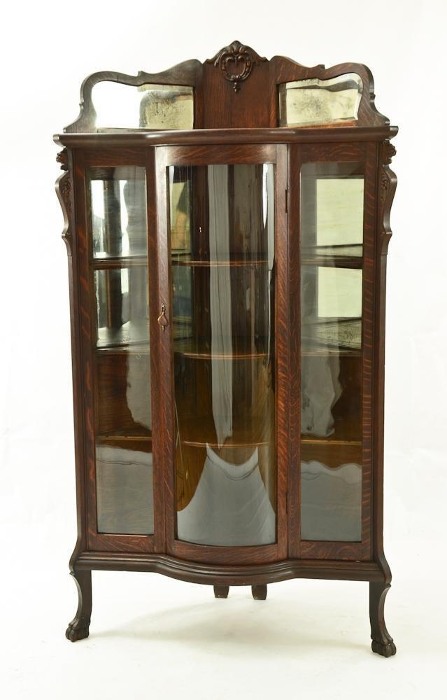 American Oak Corner Cabinet