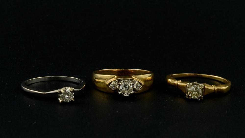 Three Ladies 14K Diamond Solitaire Rings