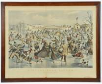 Currier  Ives Central Park in Winter Skating Pond