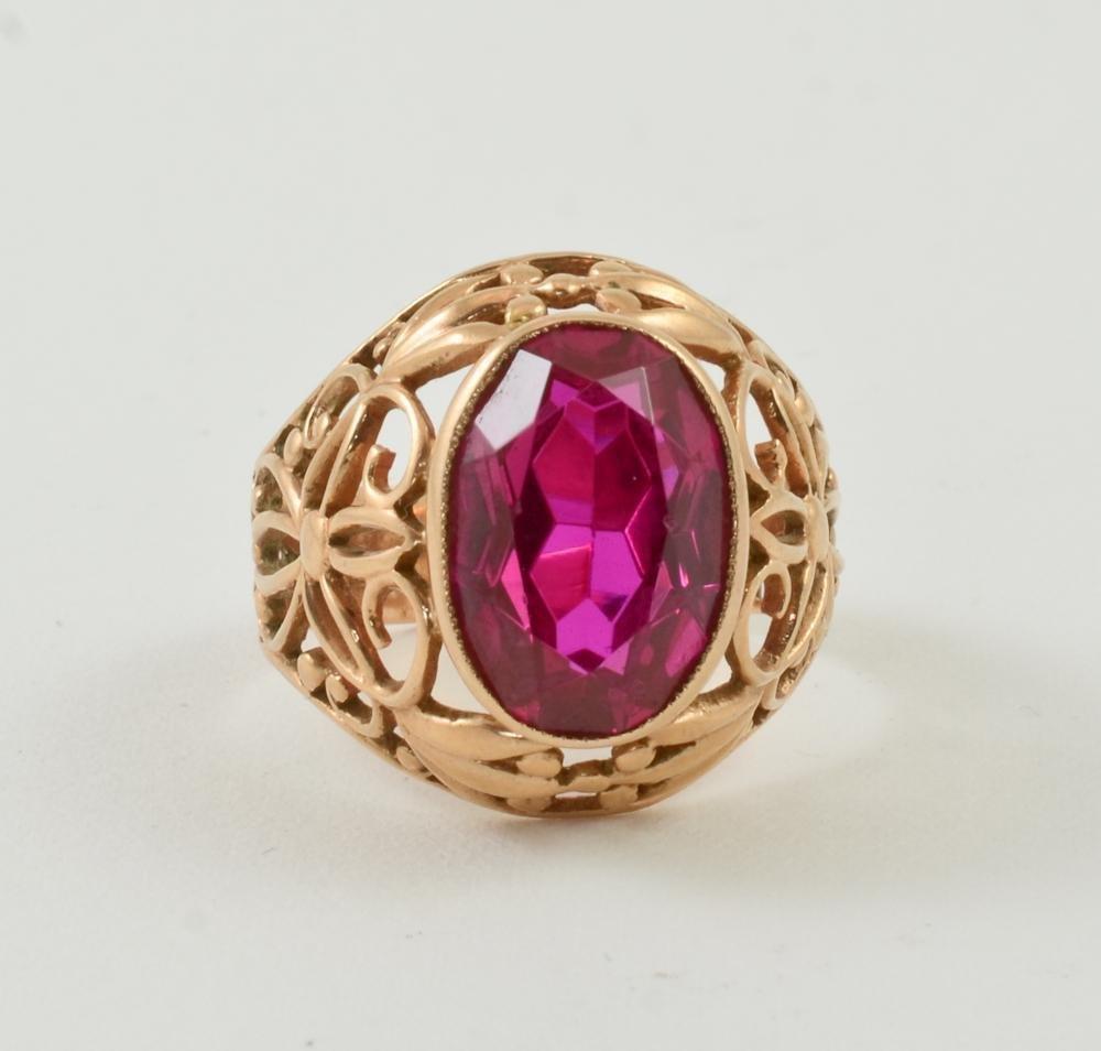 Ladies 14K Soviet Russian Gold & Ruby Ring