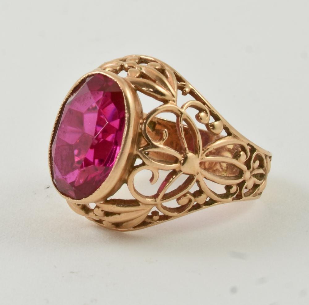Ladies 14K Soviet Russian Gold & Ruby Ring - 2