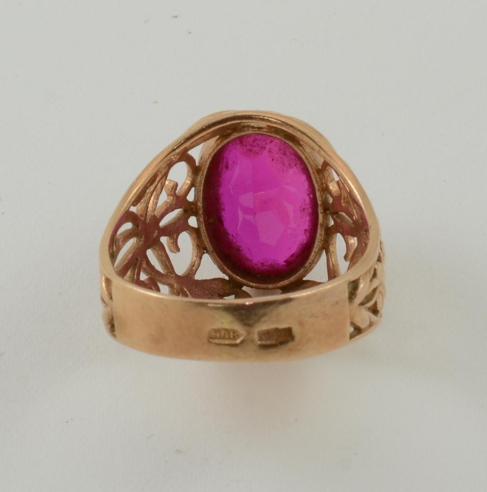 Ladies 14K Soviet Russian Gold & Ruby Ring - 3