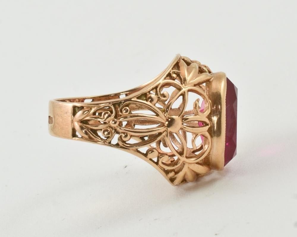 Ladies 14K Soviet Russian Gold & Ruby Ring - 4