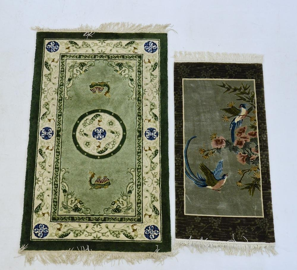 Two Chinese Silk Rugs