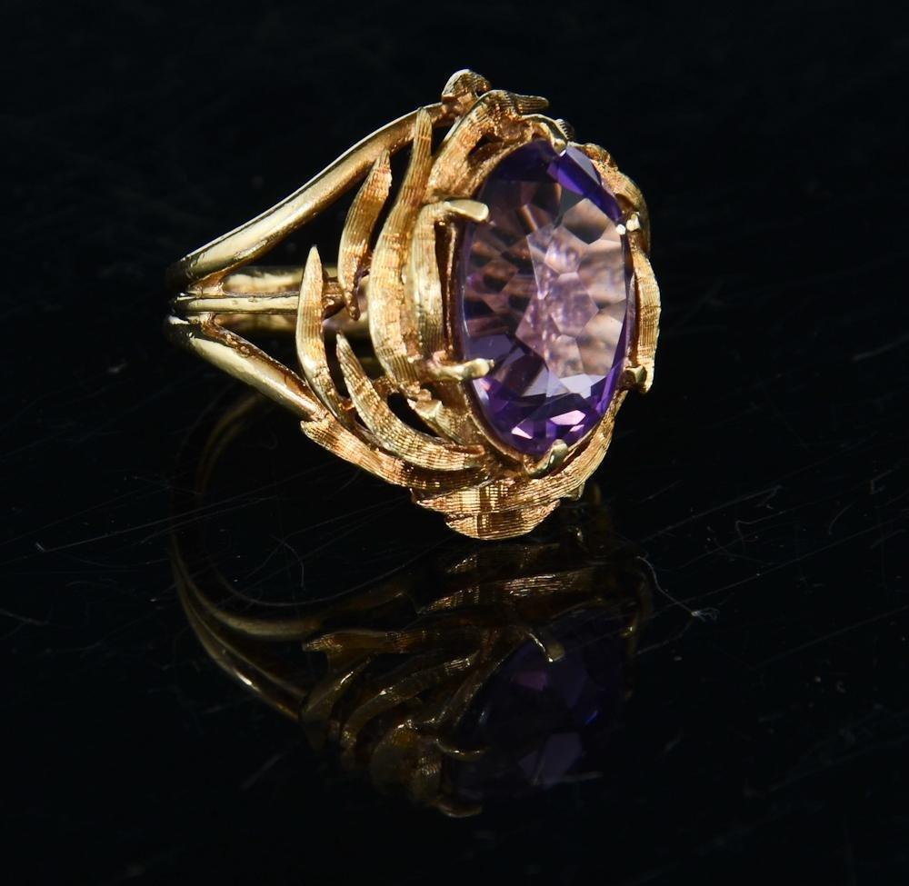 Ladies 14K Natural Amethyst Ring