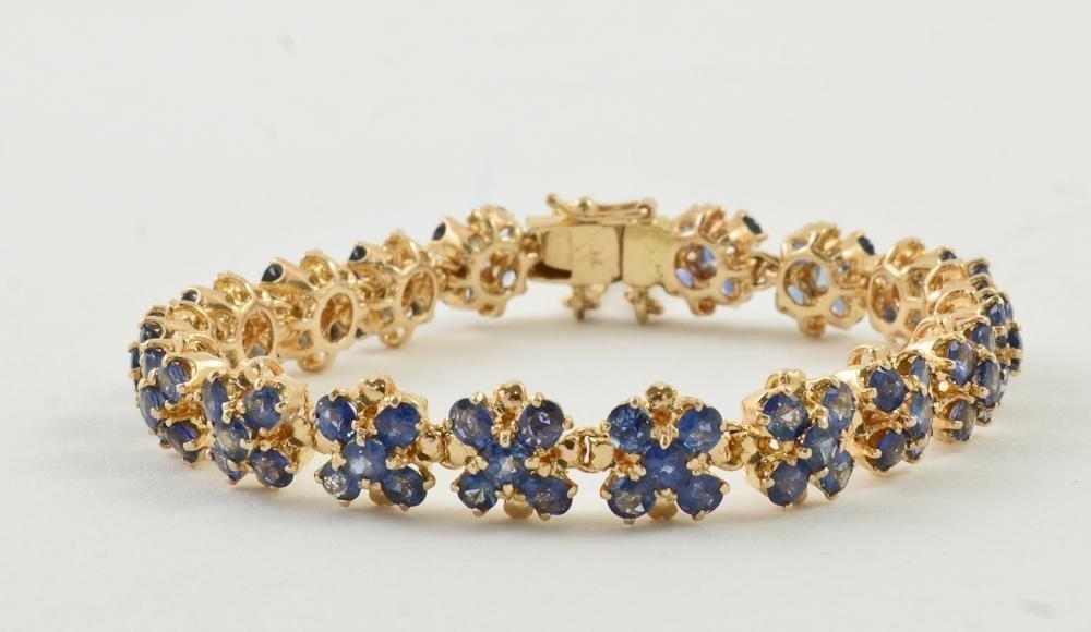 Ladies 18K Natural Sapphire Bracelet