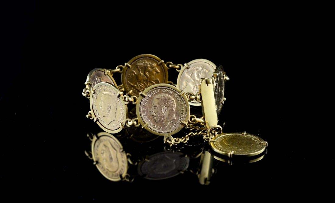 Ladies Gold Sovereign Coin Charm Bracelet