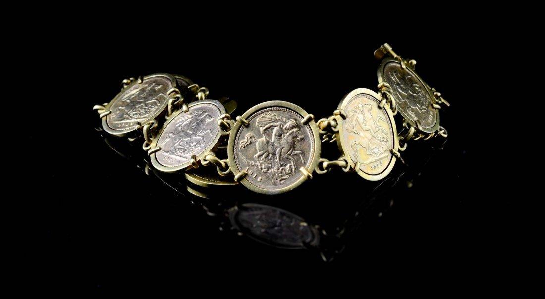 Ladies Gold Sovereign Coin Charm Bracelet - 2