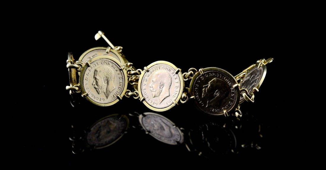 Ladies Gold Sovereign Coin Charm Bracelet - 3