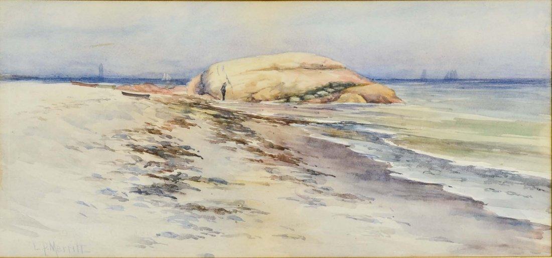 Louisa P. Merrit Watercolor Seascape