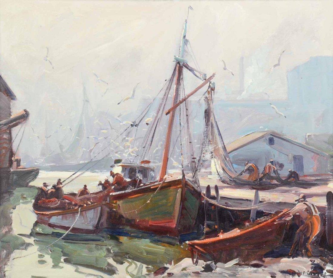 Emile Albert Gruppe Gloucester Harbor Scene