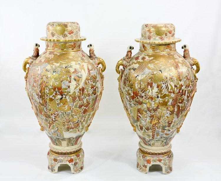 Pair of Palace Size Satsuma Vases
