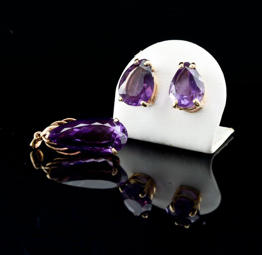 Ladies 14K Amethyst Pendant and Earrings