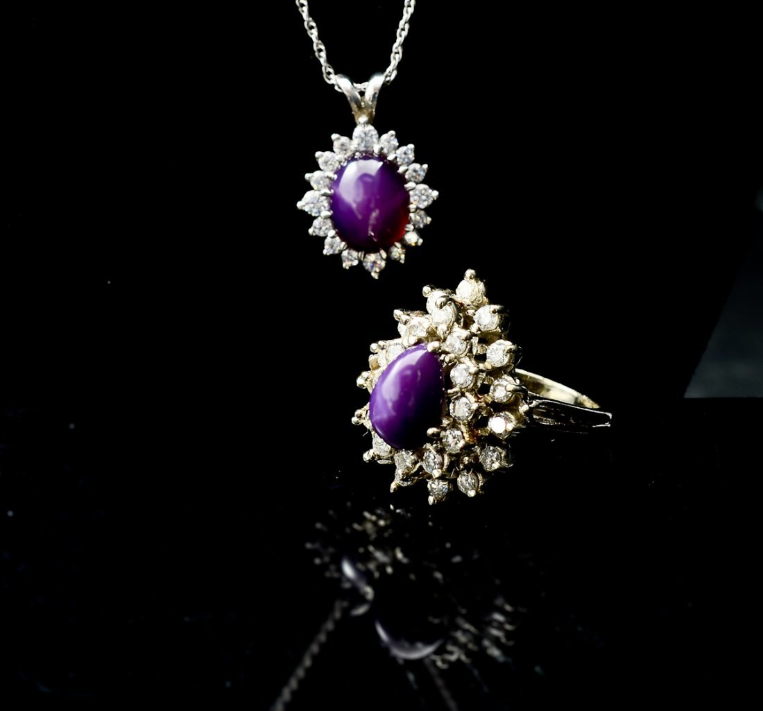 Ladies Lindy Star Sapphire Ring and Pendant