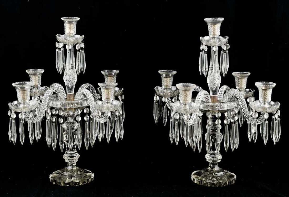 Pair of Five light Crystal Candelabra